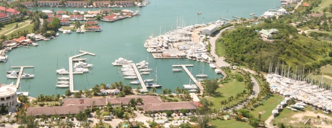 Sky view of the marina