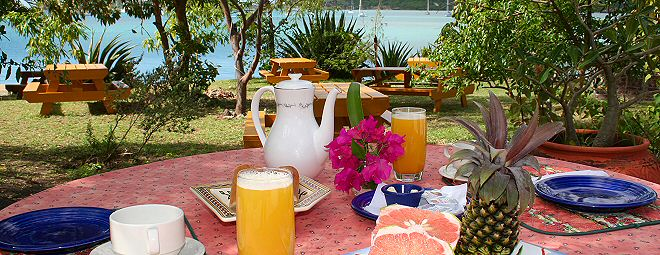 Table set for a lovely breakfast outdoors
