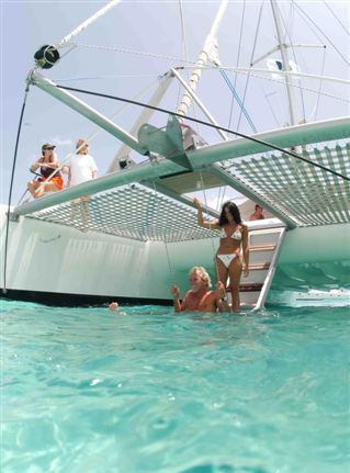 Snorkel, sail, drinks and snacks on board.  Fat cat Catamaran Tour.