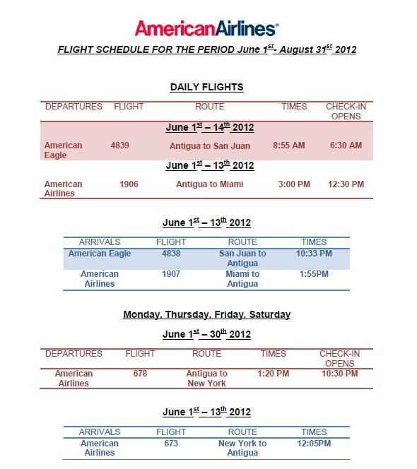 Flight Schedule 1st June 2012 31st August 2012