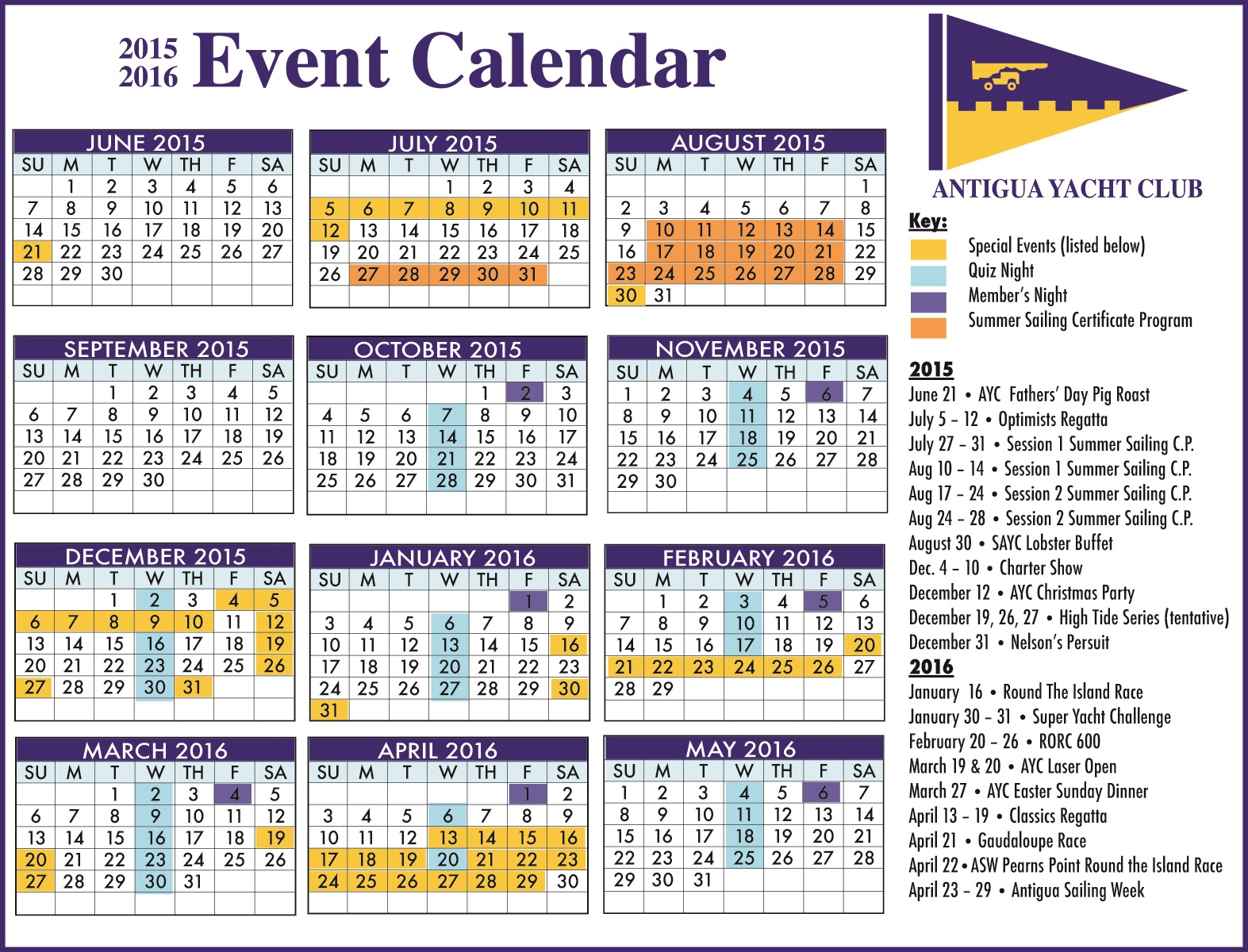 Calendar May Events : Antigua news ayc event calendar for