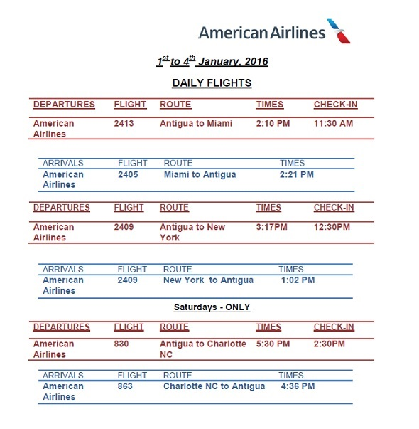 antigua news aa flight schedule january 2016