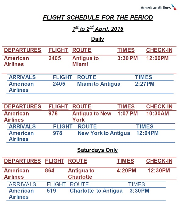 Antigua News Aa Flight Schedule April June 2018