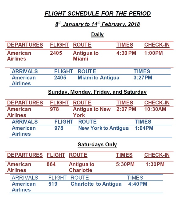 Antigua News Aa Flight Schedule January March 2018