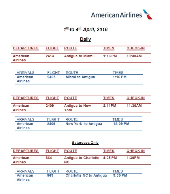 antigua news aa flight schedule april may 2016