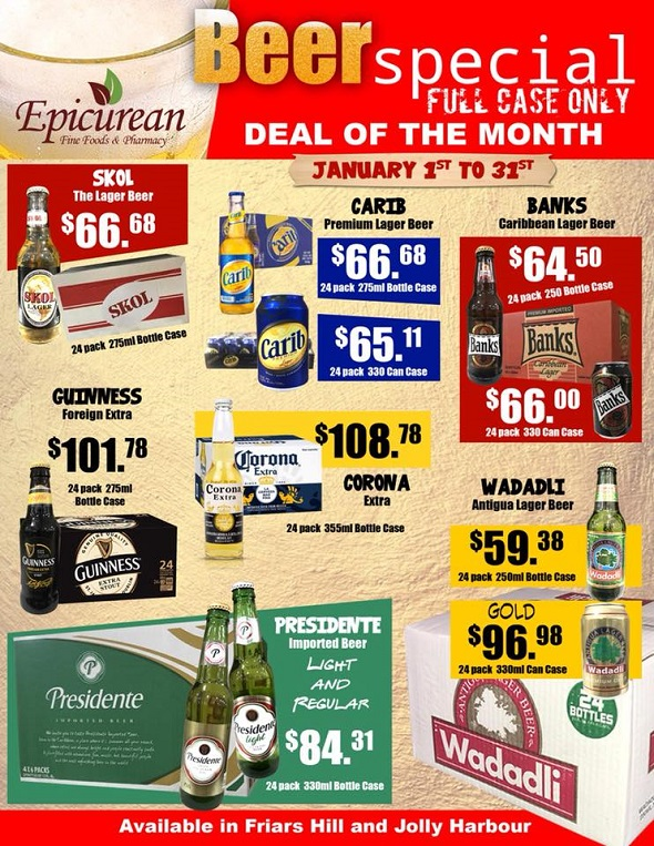 Antigua Specials: Deals on Beers by the Case
