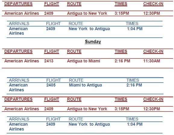 Antigua News American Airlines Flight Schedule February