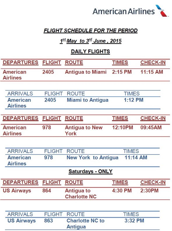 Antigua News American Airlines Flight Schedule May