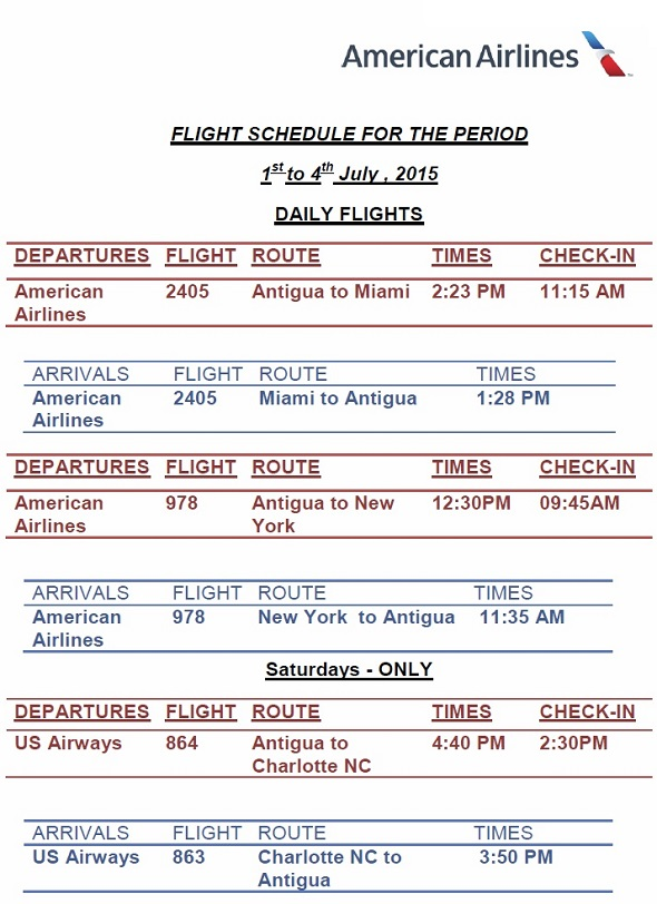 antigua news american airlines flight schedule july august 2015