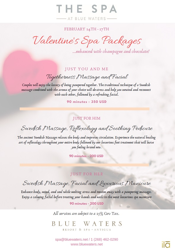 Antigua Special Offers Valentines Spa Packages Gift Certificates
