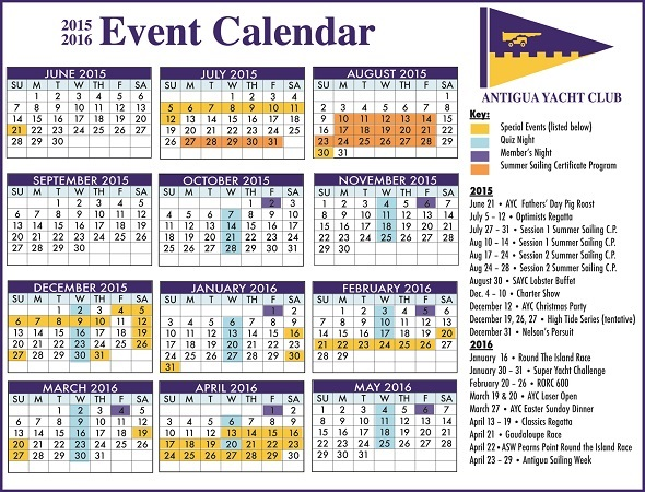 Calendar Of Events : Antigua news ayc event calendar for